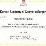 Bác sĩ Phạm Thị Thu Hà thành viên hội phẫu thuật thẩm mỹ Hàn Quốc
