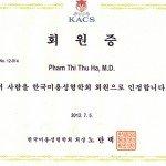 Bác sĩ Phạm Thị Thu Hà thành viên hội phẫu thuật thẩm mỹ Hàn Quốc 2
