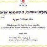 Giấy chứng nhận hội phẫu thuật thẩm mỹ Hàn Quốc